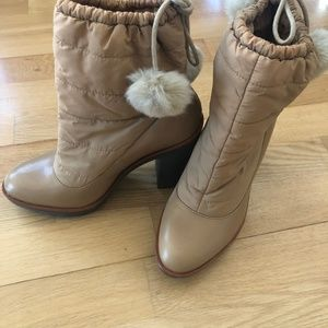 KATE SPADE NEW YORK LEATHER BEIGE BOOTIES SIZE 7 M